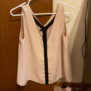 Nude and black lowcut tank